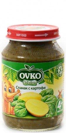 Овко Бебешко пюре/Спанак и картофи/4 м.190 гр. 1079